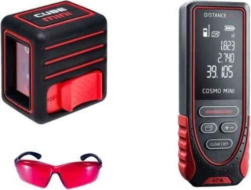 Комплект CUBE MINI PROFESSIONAL EDITION ADA + Дальномер лазерный ADA Cosmo Mini 40 + Очки лазерные ADA VISOR RED Laser Glasses [А00623]