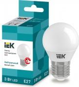 Лампа светодиодная IEK G45 3Вт 4000К Е27 Шар [LLE-G45-3-230-40-E27]
